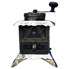 Vintage Handmade Moroccan Coffee Grinder, Silver and Brass Repousse, Ebony Wood