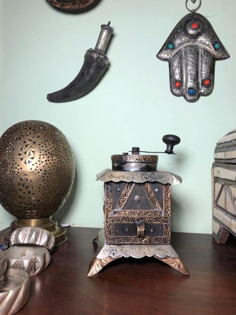 Folk Art Vintage Handmade Moroccan Coffee Grinder - Silver & Brass Repousse, Ebony Wood For Sale