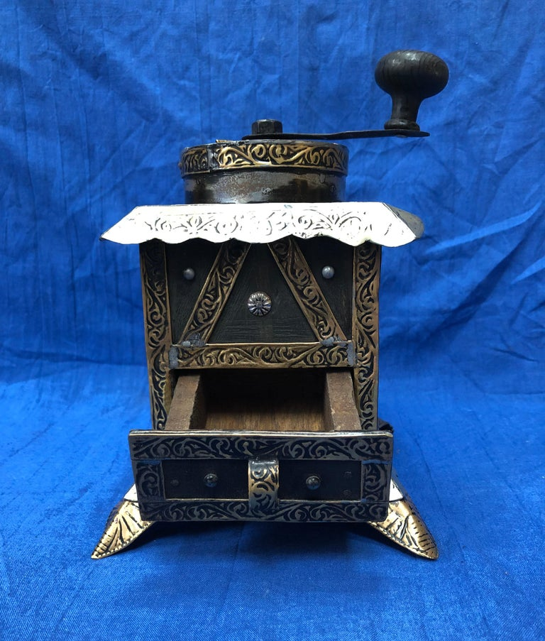 Carved Vintage Handmade Moroccan Coffee Grinder - Silver & Brass Repousse, Ebony Wood For Sale