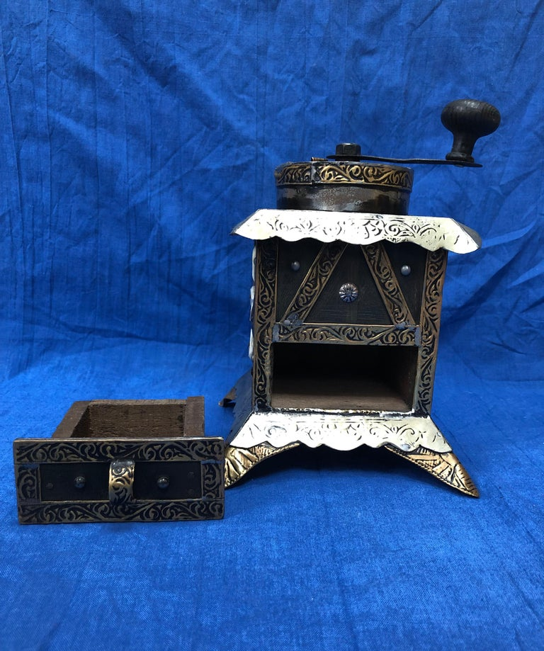 Vintage Handmade Moroccan Coffee Grinder - Silver & Brass Repousse, Ebony Wood In Good Condition For Sale In Vineyard Haven, MA