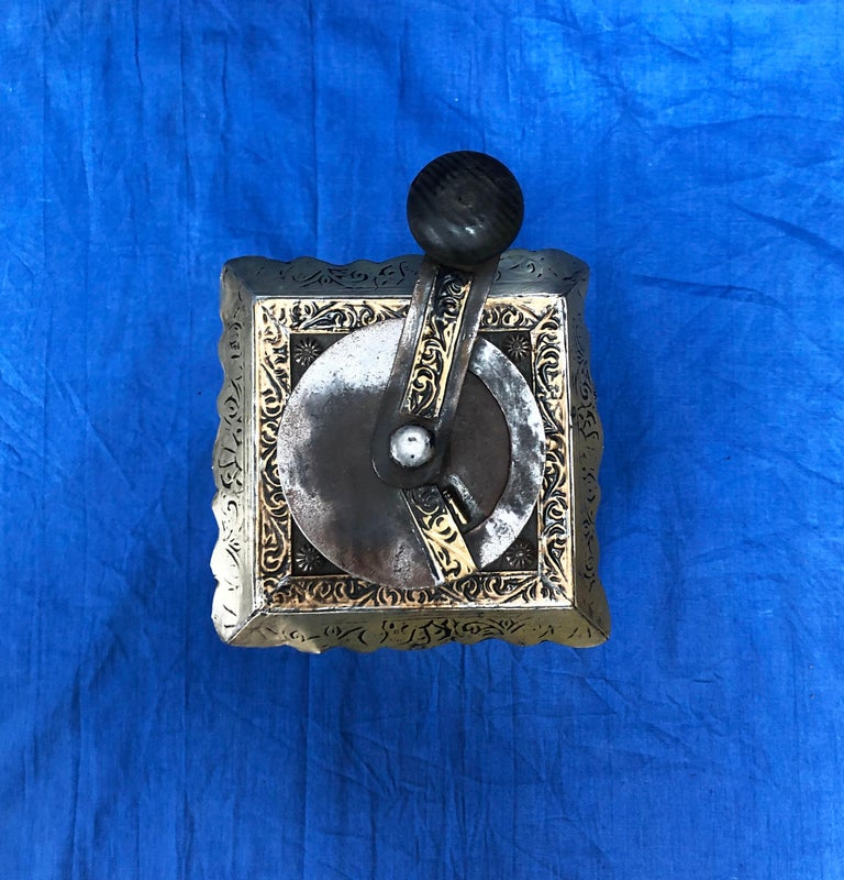 Vintage Handmade Moroccan Coffee Grinder - Silver & Brass Repousse, Ebony Wood For Sale 1