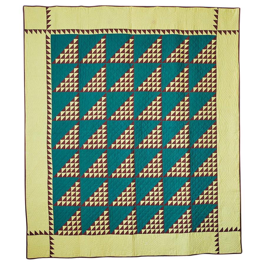 """Vintage Handmade Patchwork """"Birds In The Air"""" Quilt, USA Late 19th-Century"""