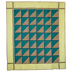 "Vintage Handmade Patchwork ""Birds In The Air"" Quilt, USA Late 19th-Century"