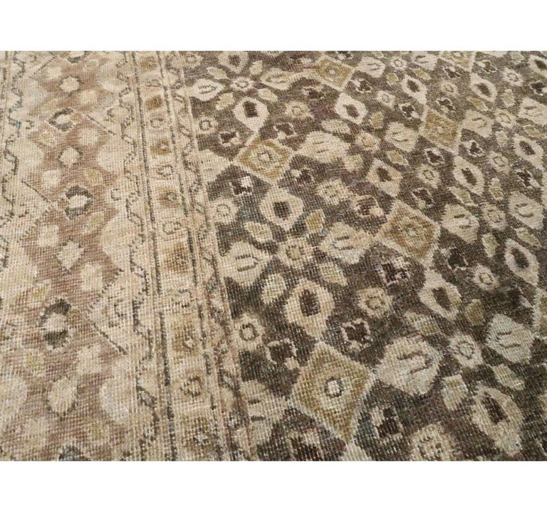 Rustic Vintage Handmade Persian Mahal Accent Rug For Sale