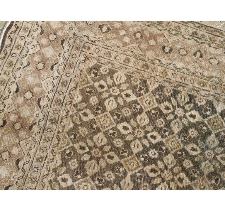 Hand-Knotted Vintage Handmade Persian Mahal Accent Rug For Sale