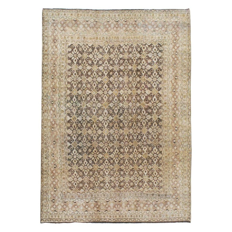 Vintage Handmade Persian Mahal Accent Rug For Sale