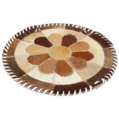 Vintage Handmade Round Western Cow Hide Mat