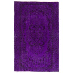 Vintage Handmade Rug Overdyed in Purple Color, Woolen Floor Covering