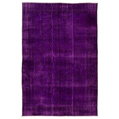 Vintage Handmade Rug Overdyed in Purple, Great for Contemporary Interiors