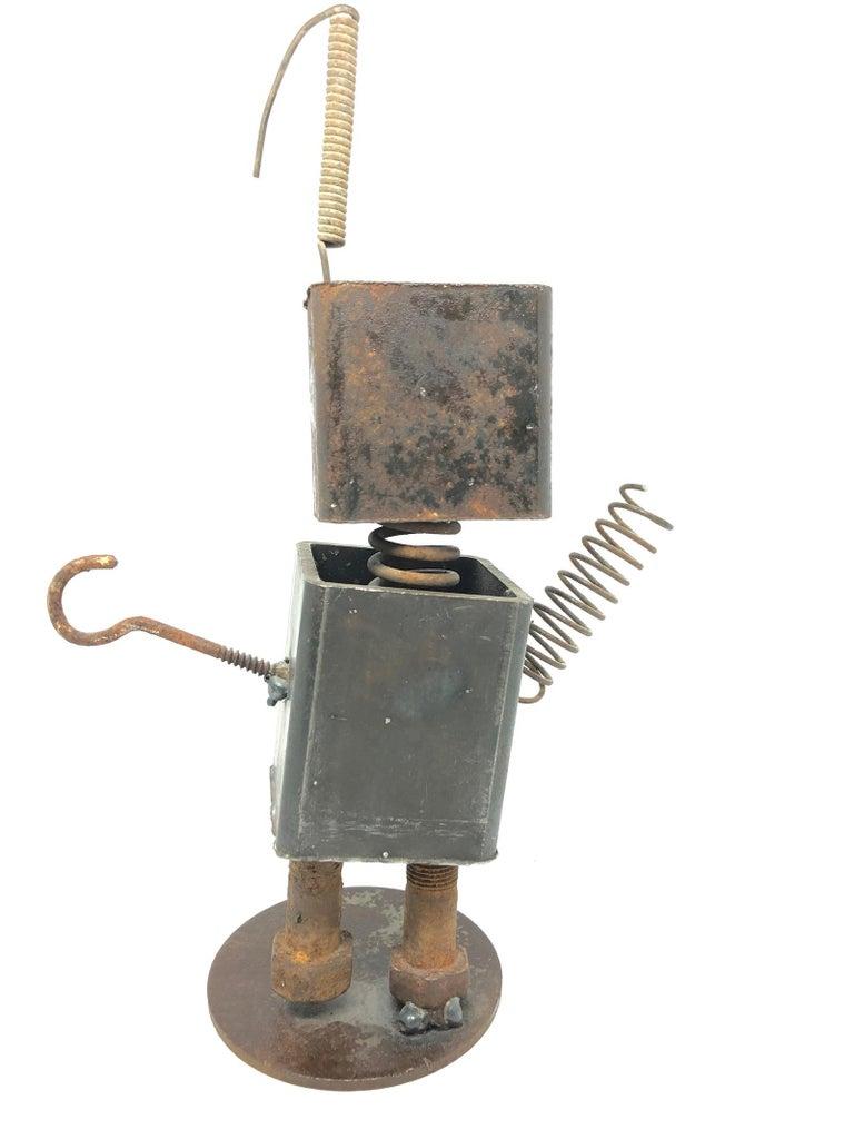 Mid-Century Modern Vintage Handmade Scrap Metal Design Robot Statue German, 1970s For Sale