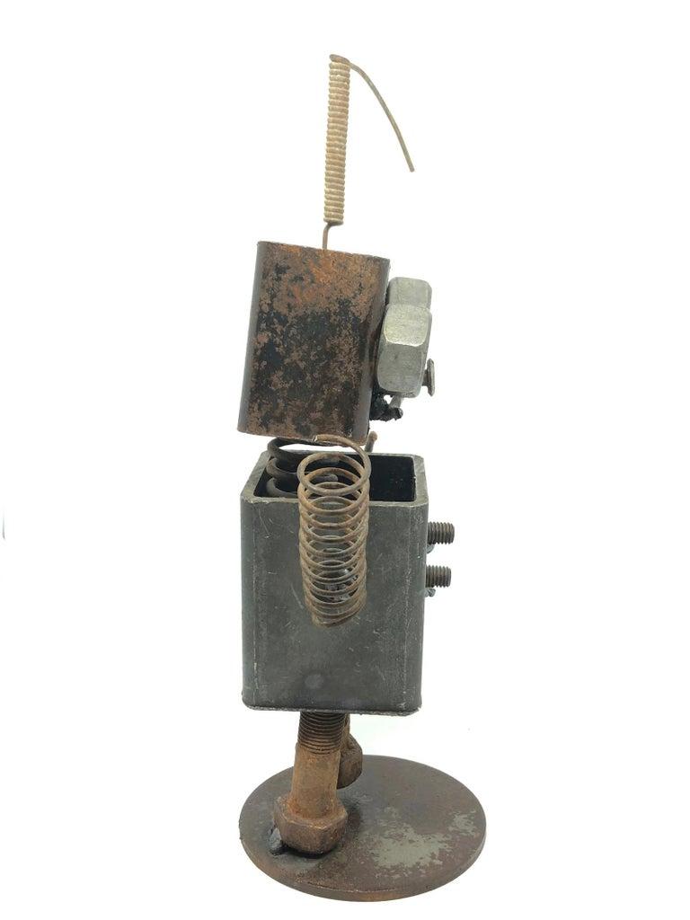 Hand-Crafted Vintage Handmade Scrap Metal Design Robot Statue German, 1970s For Sale