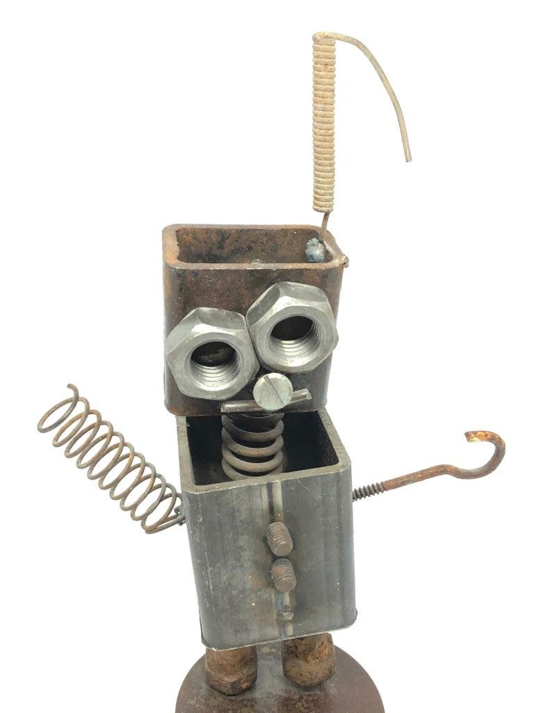 Vintage Handmade Scrap Metal Design Robot Statue German, 1970s In Good Condition For Sale In Nürnberg, DE