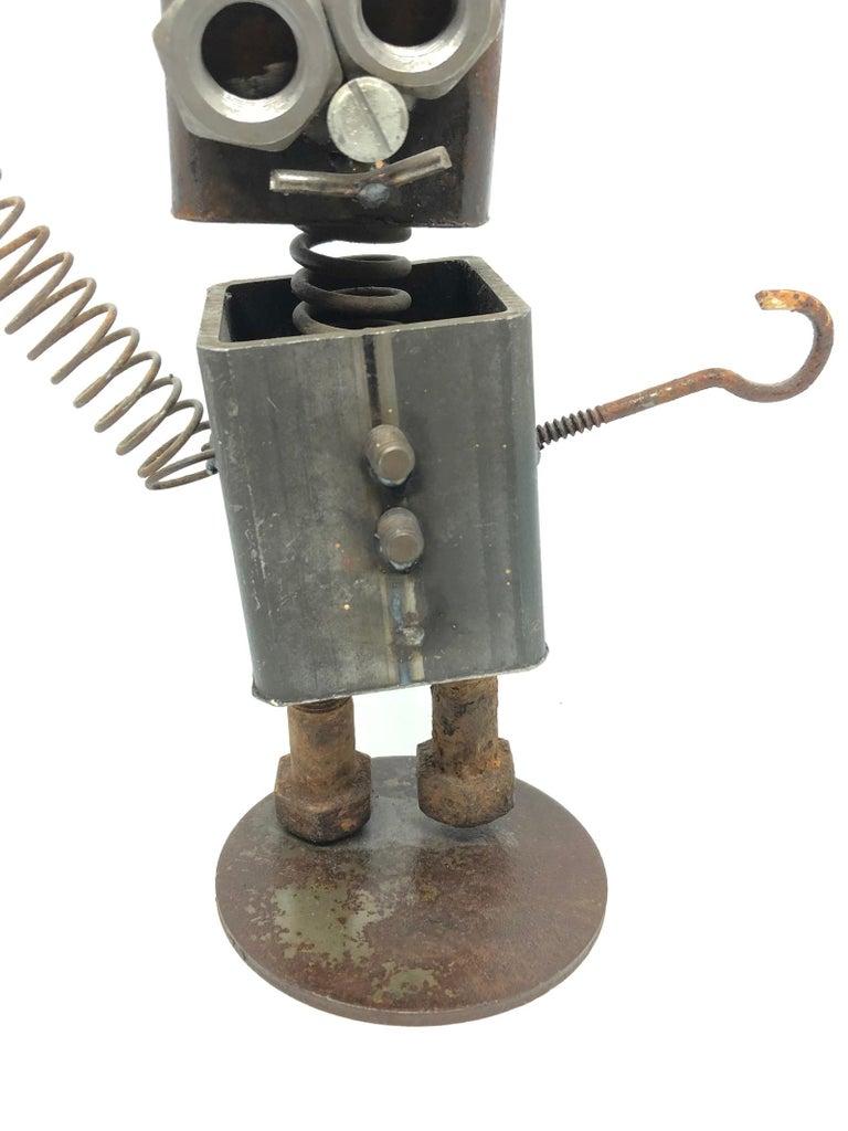 Late 20th Century Vintage Handmade Scrap Metal Design Robot Statue German, 1970s For Sale