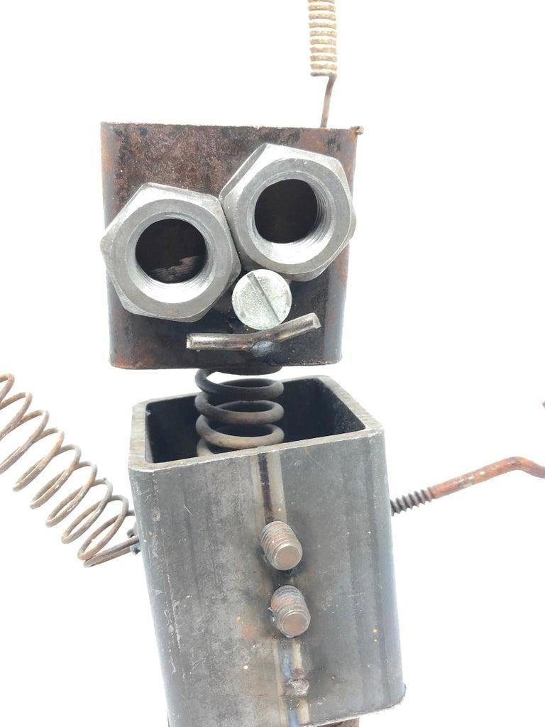 Vintage Handmade Scrap Metal Design Robot Statue German, 1970s For Sale 1