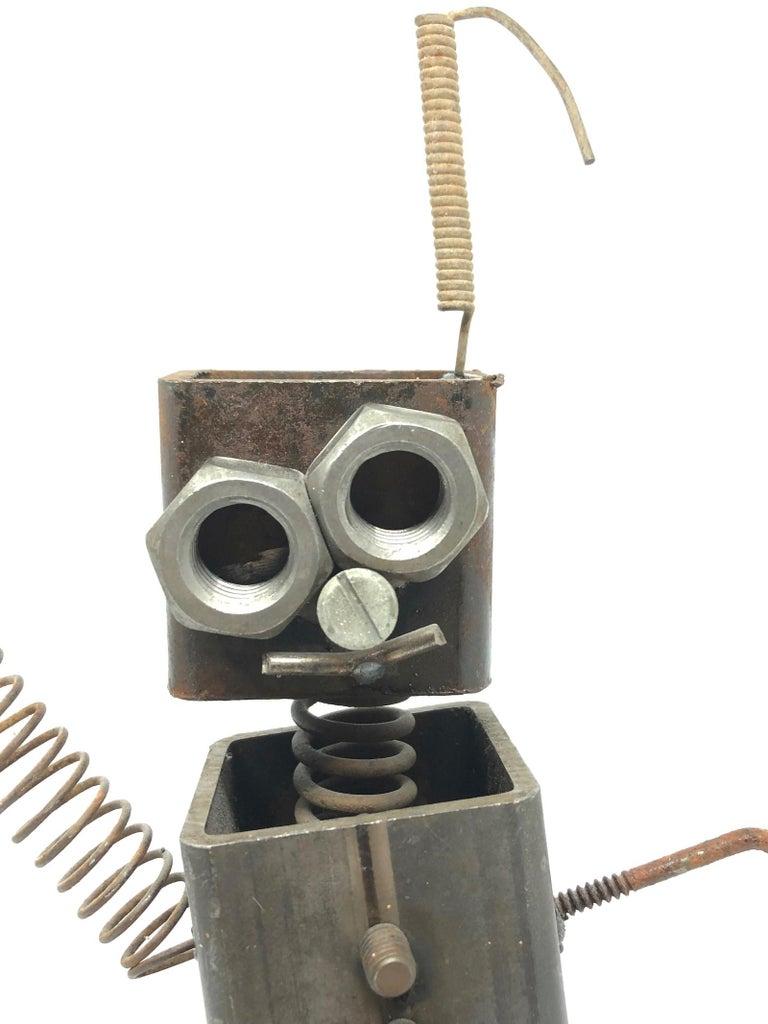 Vintage Handmade Scrap Metal Design Robot Statue German, 1970s For Sale 2