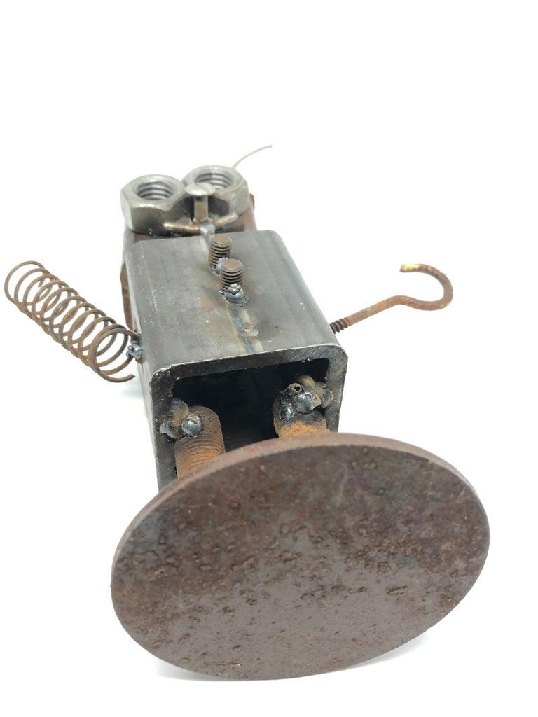 Vintage Handmade Scrap Metal Design Robot Statue German, 1970s For Sale 3
