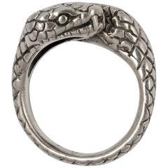 Vintage Handmade Silver Double Cobra Snake Ring