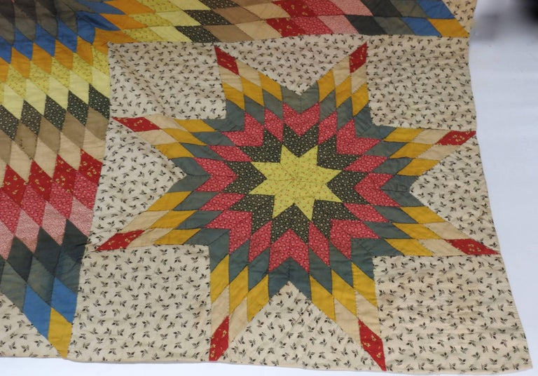Folk Art Vintage Handmade Star Quilt For Sale