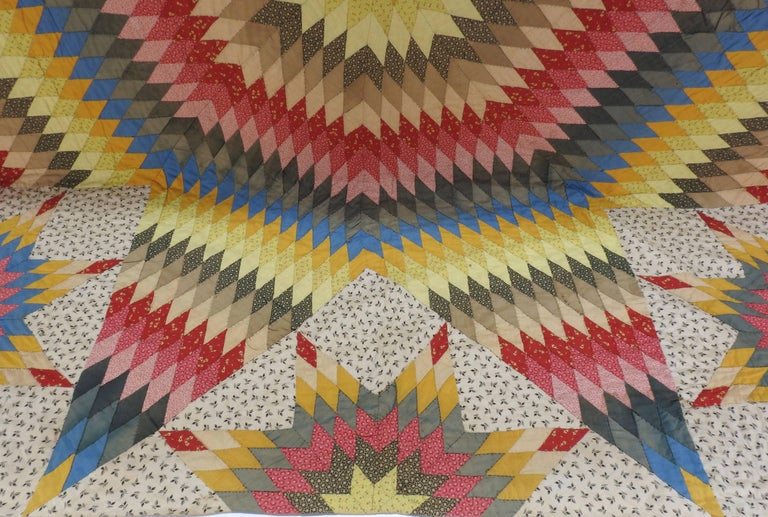 American Vintage Handmade Star Quilt For Sale