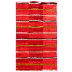 5x8.4 Ft Vintage Handmade Striped Nomadic Kilim Rug in Vivid Red Color, All Wool