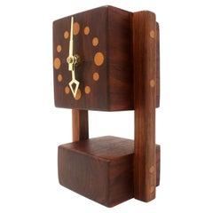 Vintage Handmade Teak Mantle Clock