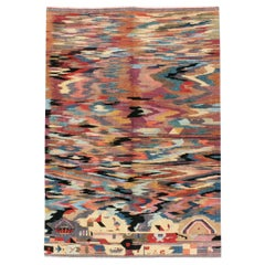 Vintage Handmade Turkish Abstract Pictorial Accent Rug