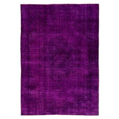 7x10 Ft Vintage Handmade Turkish Area Rug Re-Dyed in Purple for Modern Interiors