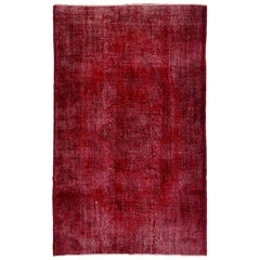 Vintage Handmade Turkish Rug Re-Dyed in Red Color for Modern Interiors