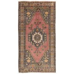 4.5x8.4 Ft Vintage Handmade Village Rug, Ca 1960, Wool Carpet for Home & Office