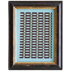 Vintage Handmade Woven Paper School Study in Frame, USA, Early 20th Century
