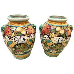 Vintage Handpainted Italian Glazed Urns Vessels Pots , Leona Italy
