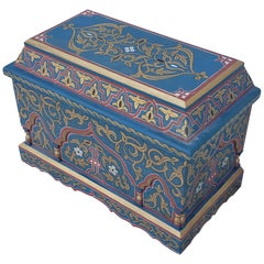 Vintage Hand Painted Moroccan Wooden Trunk
