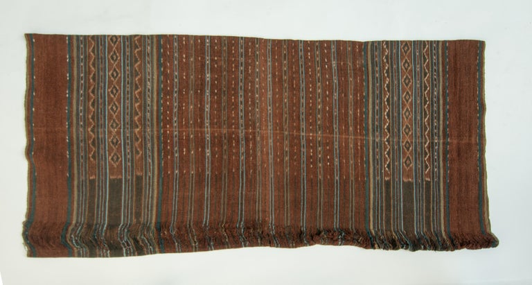 Vintage handspun cotton Ikat. Uncut warp. Lembata, Indonesia. mid-20th century.