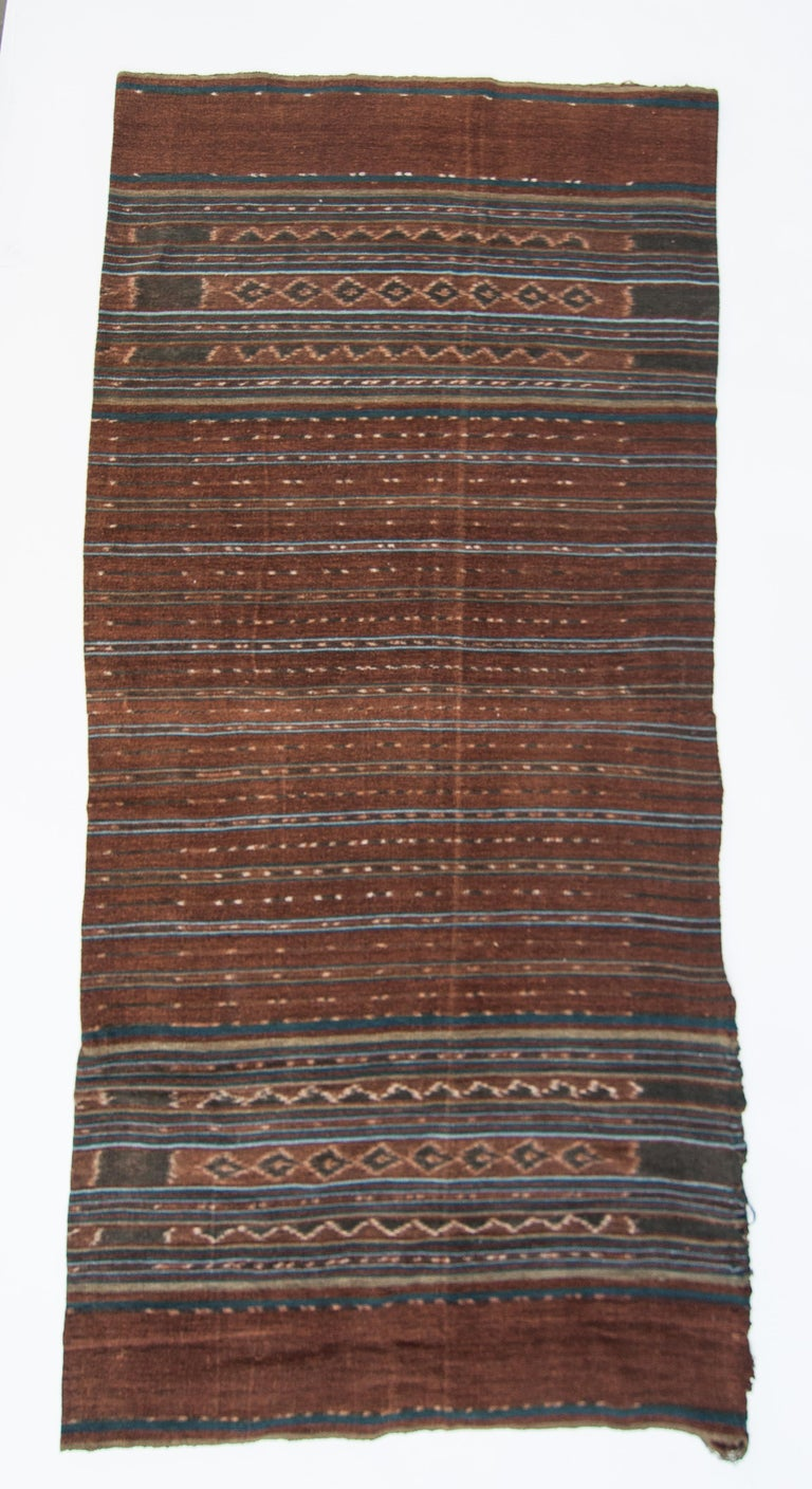 Indonesian Vintage Handspun Cotton Ikat, Uncut Warp, Lembata, Indonesia, Mid-20th Century For Sale