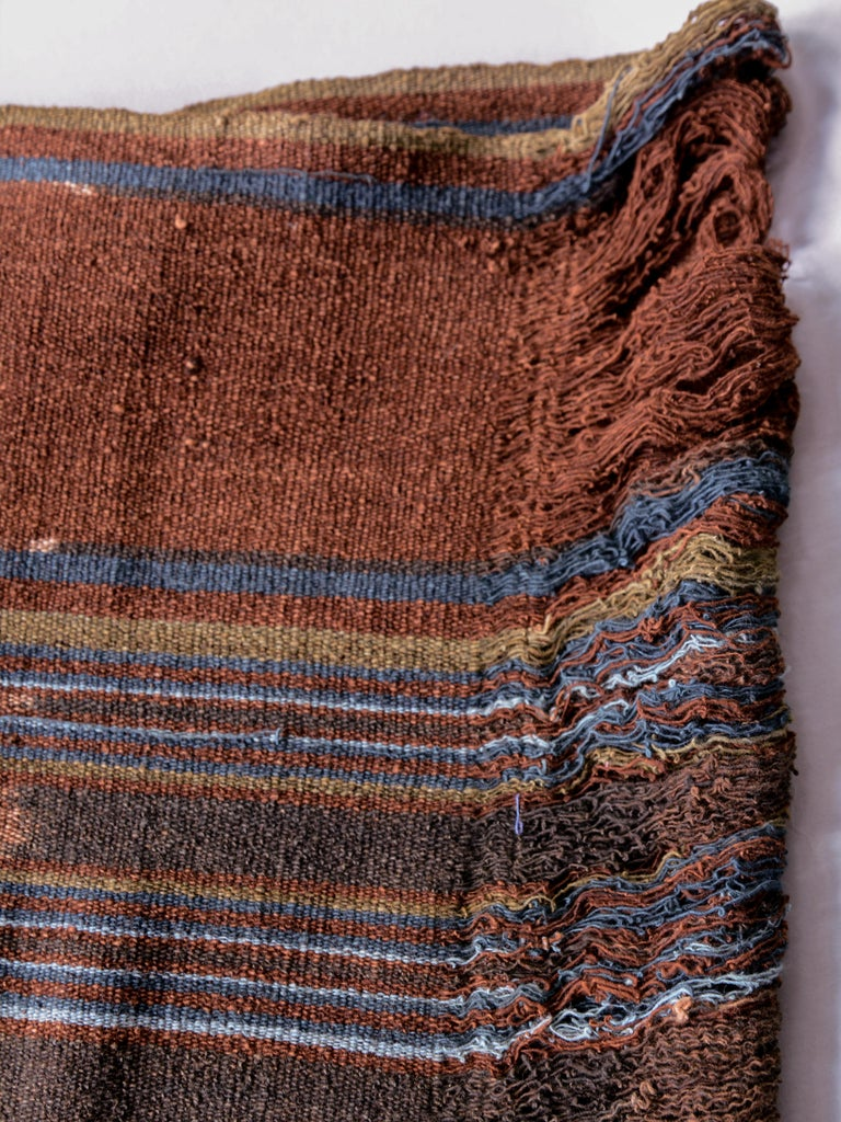 Dyed Vintage Handspun Cotton Ikat, Uncut Warp, Lembata, Indonesia, Mid-20th Century For Sale