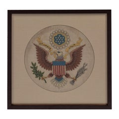 Vintage Handstitched Crewel Panel / US National Emblem