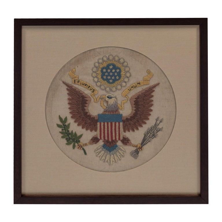 Vintage Handstitched Crewel Panel / US National Emblem For Sale