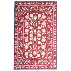 Vintage Handwoven Aubusson Style Area Rug Traditional Red Floral Rug