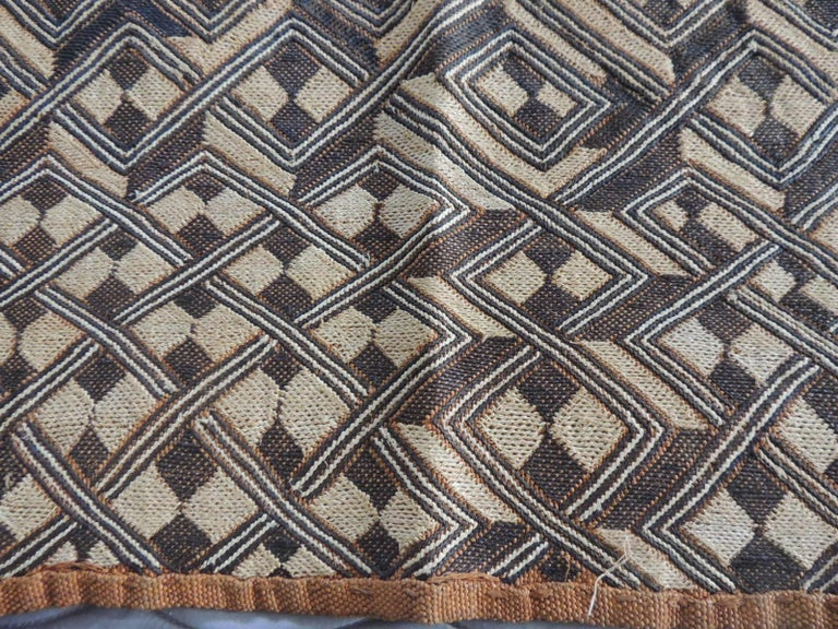 Hand-Crafted Vintage Handwoven Camel and Brown African Tribal Textile Fragment For Sale