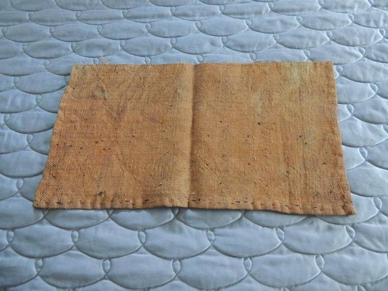 Vintage Handwoven Camel and Brown African Tribal Textile Fragment In Good Condition For Sale In Wilton Manors, FL