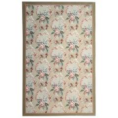 Vintage Handwoven Carpet Aubusson Style Flat-Weave Area Rug
