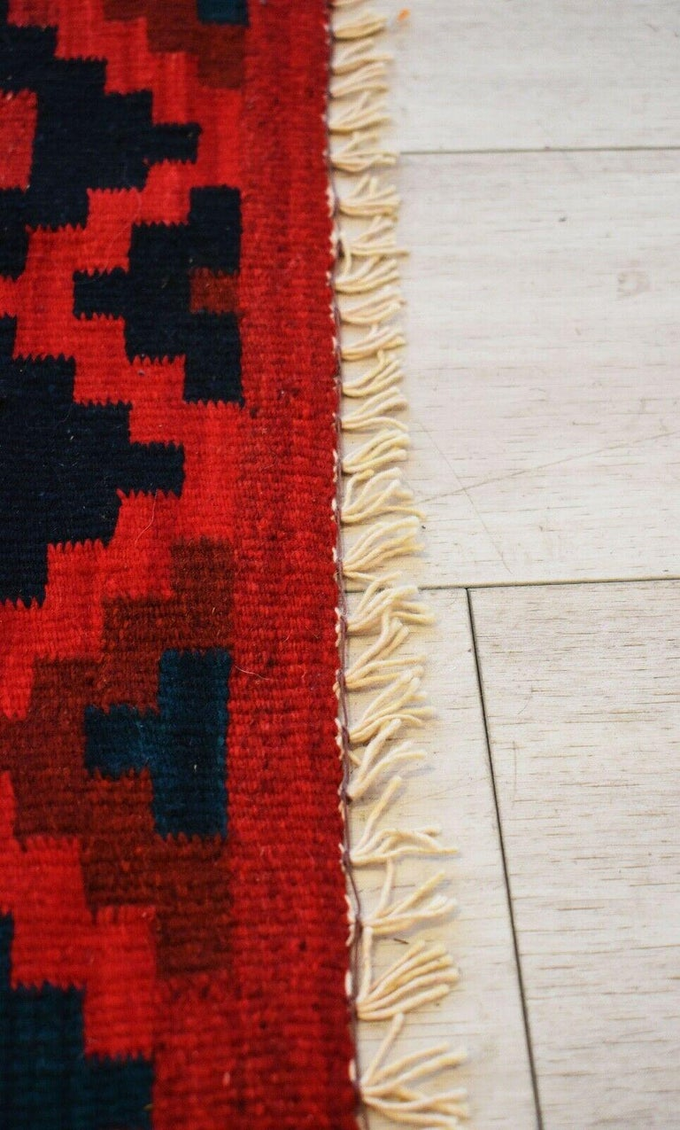 Modern Vintage Handwoven Geometric Kilim Rug / Runner Natural Dye For Sale