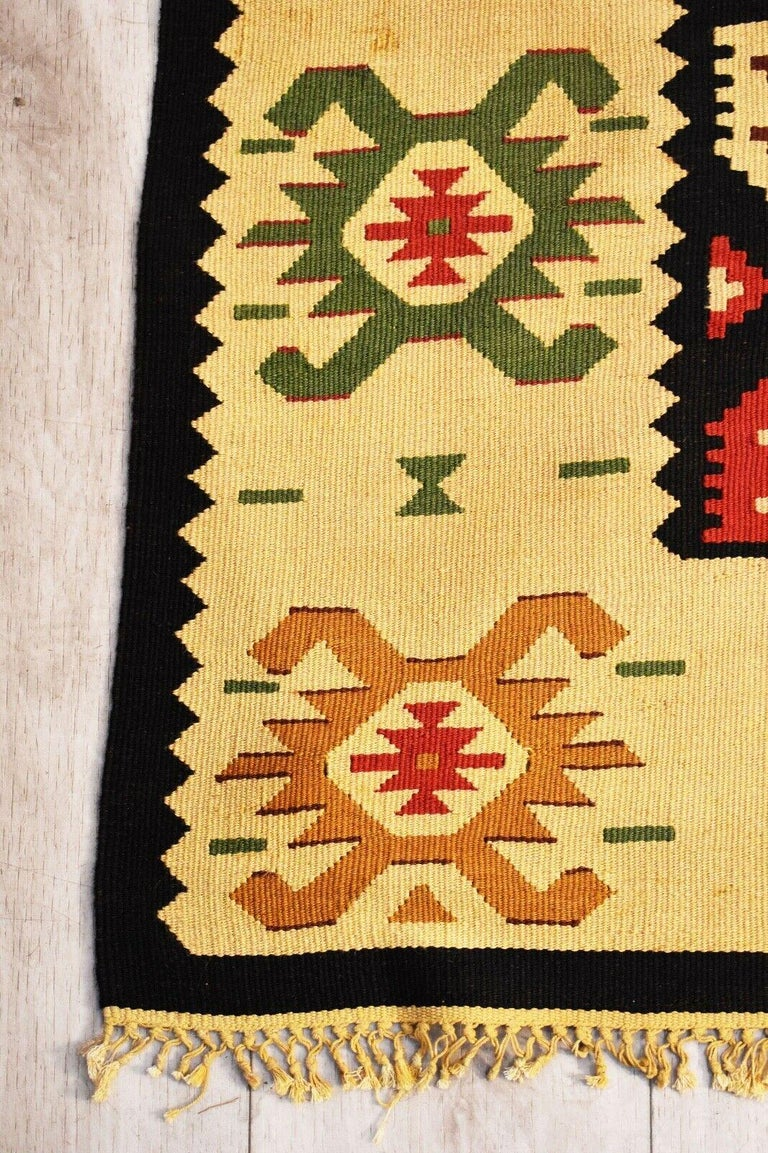 Hand-Woven Vintage Handwoven Geometric Kilim Rug / Runner Natural Dye For Sale