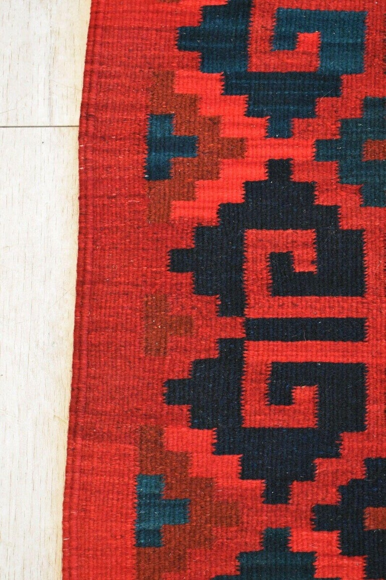 Vintage Handwoven Geometric Kilim Rug / Runner Natural Dye In Good Condition For Sale In London, GB