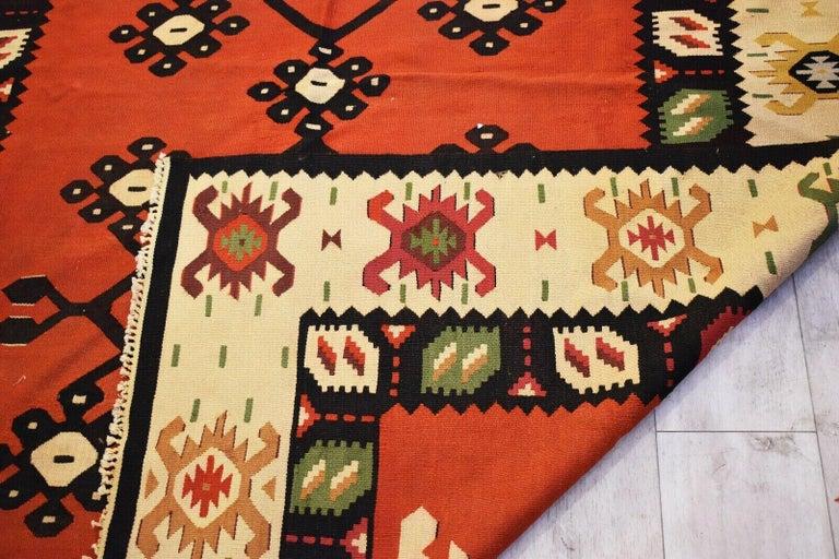 20th Century Vintage Handwoven Geometric Kilim Rug / Runner Natural Dye For Sale