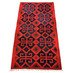 Vintage Handwoven Geometric Kilim Rug / Runner Natural Dye