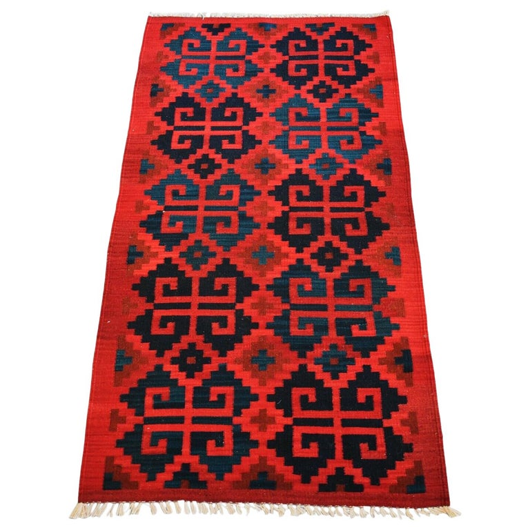 Vintage Handwoven Geometric Kilim Rug / Runner Natural Dye For Sale