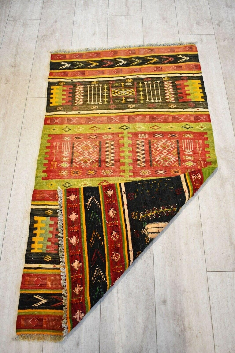 Modern Vintage Handwoven Kilim Rug / Runner Natural Dye
