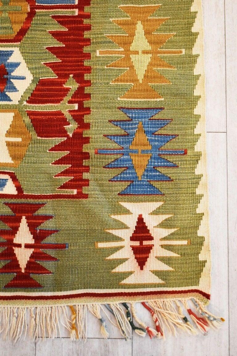 Modern Vintage Handwoven Kilim Rug / Runner Natural Dye For Sale