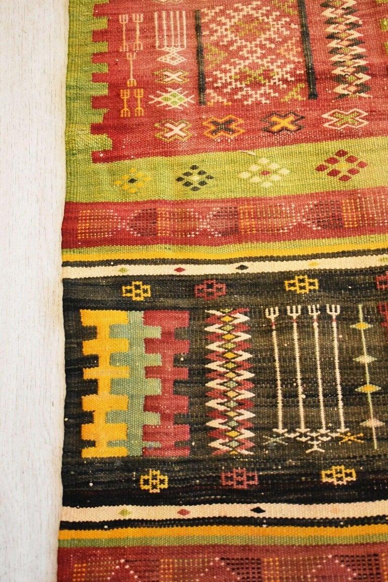 Hand-Woven Vintage Handwoven Kilim Rug / Runner Natural Dye